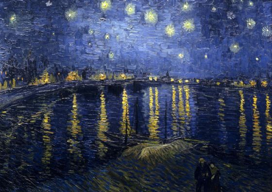 Van Gogh, Vincent: Starry (Starlit) Night over the Rhone. Fine Art Print/Poster. Sizes: A4/A3/A2/A1 (00250)